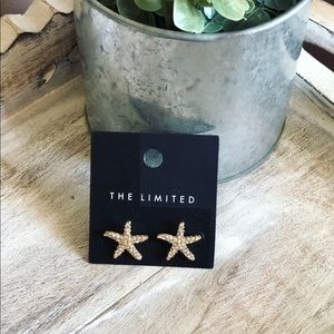 NWT The Limited Starfish Gold Rhinestone Earrings